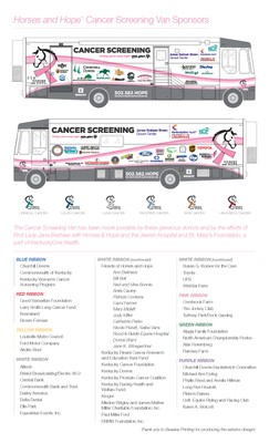 Horses and Hope Cancer Screening Van Sponsors page 1